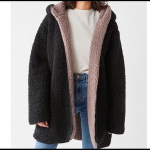 UO Silence & Noise Black/Brown Fuzzy Jacket